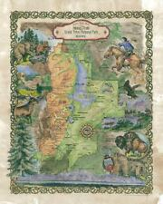 157 Hiking trail of Grand Teton National Park vintage historic antique map print