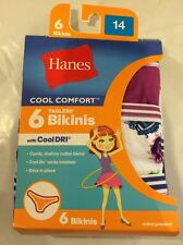 Hanes Girls 6 Pack Assorted Tagless Moisture Wicking Bikini Underwear Size 14