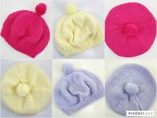 Baby Girls Boys Hand Knitted Winter Beret PomPom Bobble Hat Age 0-3-6 Months