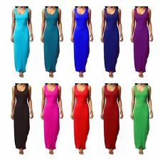 Womens Plain Muscle Racer Back Sleeveless Stretch Bodycon Long Maxi Dress 8-26