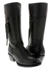 Womens Smooth Black Leather Fashion Western Cowboy Cowgirl Boots Rodeo