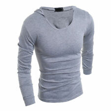 Mens Casual Cultivate One's Morality Hooded Long-Sleeved Fashion T-Shirt New p