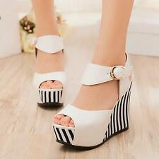 Womens High Wedge heel Platform ankle strap Buckle peep Toe Party Sandals Shoes