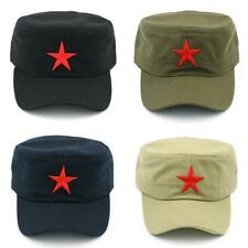 Hot Men Women Red Star Solid  Army Cap Cadet Military Patrol Hat Golf Driving