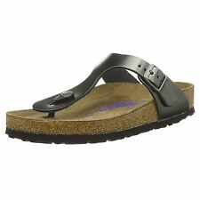 Birkenstock Gizeh Metallic Anthracite Leather Womens Toe Post Summer Sandals
