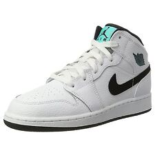 Nike Air Jordan 1 Mid White Black Youths Leather Hi Top Trainers Sneakers Shoes