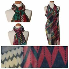 US Seller - Zig Zag Multi-Color Print Scarf in Green, Grey or Light Green