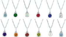 Sterling Silver 7 mm Rd. Faceted Gemstone Pendant W/ Accents & Chain (12 Colors)
