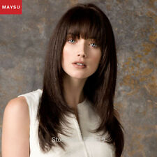 Straight Human Hair Wigs For Women Elegant MAYSU Neat Bang Long Straight Wigs