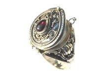New 925 Sterling Silver  Bali Tear Drop Poison Ring with Red Garnet Gemstone