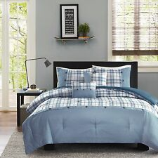 Modern Teal Plaid Blue White 5-PC Comforter Set Twin Full/Queen NEW