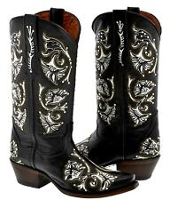 Womens Black White Studded Design Leather Cowboy Cowgirl Boots Snip Toe