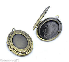 Wholesale Bronze Tone Photo Oval Locket Frame Pendants 34x24mm