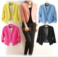 NEW Fashion Lady 3/4 Sleeve  Slim Fit Suit Blazer Jacket Casual Candy Color