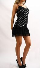 GUESS Marciano Sequin Zipper Cocktail Ruffle Dress S M 4 6 8 NWT