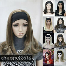 8 Colors 3/4 Half Long Straight Women Lady Headband Wigs with a Free Wig Cap