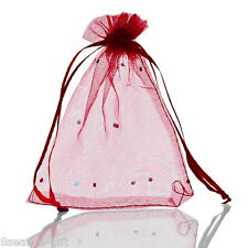 Wholesale Lots 10x12cm Wine Red Gift Bags Pouches Wedding/Christmas Gift Favor