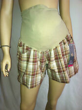 Oh Baby by Motherhood Secret Fit Belly Plaid Brown/Cream Shorts Maternity Sz.S L