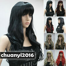Long Wavy Straight Bangs Women Natural Daily  8 Colors Wigs + Free Wig Cap