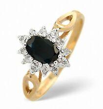 Sapphire Ring Sapphire & Diamond Ring Cluster Ring Gold Engagement Ring Size F-Z
