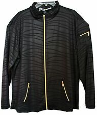 NWT Jamie Sadock Long Sleeve Golf Jacket Black w/Gold XX-Large XXL 42174