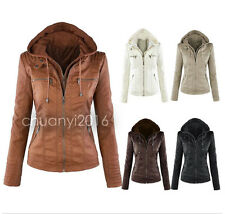 Womens Leather Hooded Jacket Slim Motorcycle Parka Coat Overcoat Trench Outwear