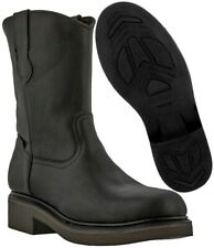 Mens Black Leather Construction Work Boots Durable Cushion Comfort System