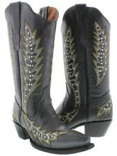 Black Silver Studs Leather Cowboy Cowgirl Western Rodeo Boots Embroidered Ranch
