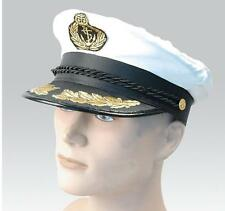 SUPREME SATIN CAPTAIN HAT NAVAL OFFICER PEAKED CAP SAILOR FANCY DRESS COSTUME
