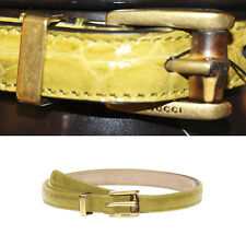Sz 30 34 36 NEW $495 GUCCI Yellow CROCODILE LEATHER Skinny BAMBOO BUCKLE BELT