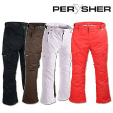 PERYSHER Waterproof Ski / Snowboard Pants for Ladies - Onyx/Mocha/Candy-Red/Snow