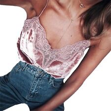 Women Strappy Lace Velvet V Neck Vest Slim Sleeveless Top Tank Blouse Camisole X