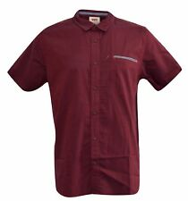New Levis Short Sleeve Casual One Pocket Button Up T-shirt Burgundy
