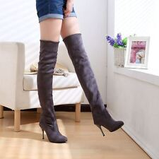 Women New Fashion Over the Knee Plus Size Black Brown Grey Color Boots