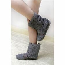 Women Grey Color Spring and Summer High-leg Hollow Ankle Flat Knitted Boots