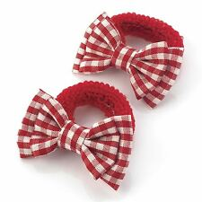 New Womens One Pair Gingham Check Print 5.5cm Bow Hairbands Ponio Accessories