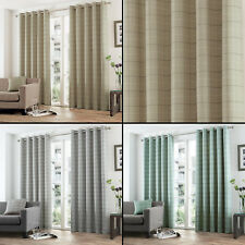 Tony's Textiles Pair of Burton Check Lined Curtains with Grommet Top - 3 colours