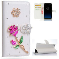 Rose Flowers Bling Crystal Diamonds Flip PU leather Case Cover Skin For Samsung