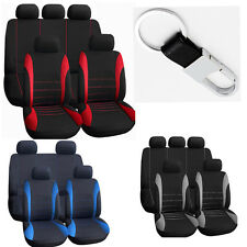 Set of 10pc Car Seat Cover For Auto w/Steering Wheel/Belt Pad/Head Rest+keychain
