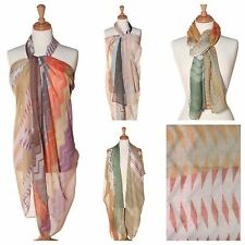 US Seller - Zig Zag print scarf, choose from Brown, Green or Teal