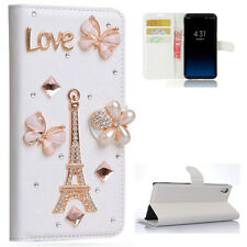 Angel Girl Diamond Crystal PU Leather Wallet Flip Phone Cover Case For Samsung