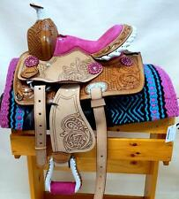 """10"""" 12"""" Med Oil +PINK +BLIING conchos Western PONY MINI TRAIL Saddle SHOW NEW"""