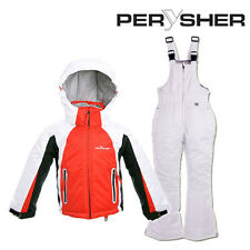 PERYSHER Extra Warm Kids Snowboard Ski Jacket & Pants - Bright Red & White Suit