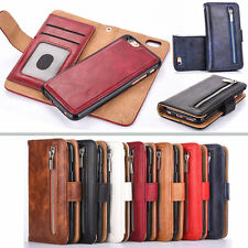 Luxury Leather Removable mobile phone shell Wallet Zipper Flip Card Case Cover