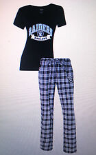 Oakland Raiders Ladies 2 Piece Sleep Set Vneck Tshirt Faded logo& Flannel Pajama