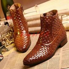 Ankle Boots Woven Chic Mens oxford Pointy Toe Zipper Leather moto Formal Shoes