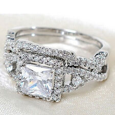 2Pcs Silver Plated Cubic Zircon Rings Set Crystal Solitaire Accents Fantastic