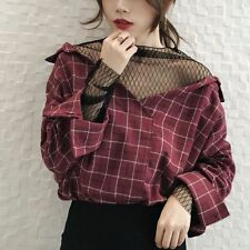 Women's Korean Fashion V Neck Loose Casual Blouse Plaid Stitching Lace shirt Top