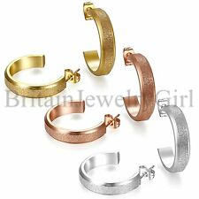 Meshed Open Hoop Earrings Gold Silver Rosegold Stainless Steel Women's Ear Stud
