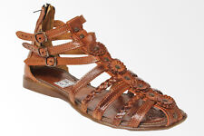 womens 226 gladiator style all real leather huarache sandal ankle strap brown